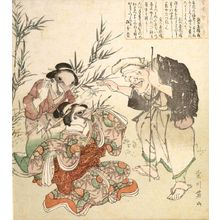 Kikugawa Eizan: Old Man Conversing with Two Sparrows: Tongue-Cut Sparrow (Shita-kiri suzume), from the series Folktales of Wisdom, Benevolence and Courage (Mukashi banashi chijinyû), Edo period, mid 19th century - Harvard Art Museum