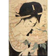 Ichirakutei Eisui: WOMAN WITH PEONY - Harvard Art Museum