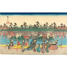 Utagawa Hiroshige: WISTERIA AT KAMEIDO TEMPLE GROUNDS, from the series Famous Places of the Eastern Capital (Tôto meisho) - Harvard Art Museum