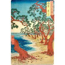 Utagawa Hiroshige: Harima Province, Maiko Beach (Harima, Maiko no hama), from the series Famous Places in the Sixty-odd Provinces [of Japan] ([Dai Nihon] Rokujûyoshû meisho zue), Edo period, 1854 (Kaei 6, 12th month) - Harvard Art Museum