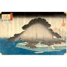 歌川広重: Night Rain at Karasaki (Karasaki no yau), from the series From the Eight Views of Lake Biwa (ômi hakkei no uchi), Edo period, circa 1834 - ハーバード大学