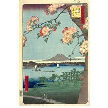 歌川広重: Suijin Grove and Massaki on the Sumida River (Sumidagawa Suijin no mori Massaki), Number 35 from the series One Hundred Famous Views of Edo (Meisho Edo hyakkei), Edo period, dated 1856 (8th month) - ハーバード大学