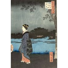 歌川広重: Night View of Matsuchiyama and the San'ya Canal (Matsuchiyama San'yabori yakei), Number 34 from the series One Hundred Famous Views of Edo (Meisho Edo hyakkei), Edo period, dated 1857 (8th month) - ハーバード大学