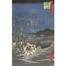 Utagawa Hiroshige: New Year's Eve Foxfires at the Changing Tree, ôji (ôji Shôzoku enoki ômisoka no kitsunebi), Number 118 from the series One Hundred Famous Views of Edo (Meisho Edo hyakkei), Edo period, dated 1857 (9th month) - Harvard Art Museum