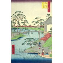 Utagawa Hiroshige: Mokuboji Temple, Uchigawa Inlet, Gozensaihata (Mokuboji Uchigawa Gozensaihata), Number 92 from the series One Hundred Famous Views of Edo (Meisho Edo hyakkei), Edo period, dated 1857 (12th month) - Harvard Art Museum