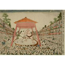Katsukawa Shunsho: Picture of the Great Official Sumo Meet in Edo: Match Between Fudenoumi and Miyagino, Edo period, late 18th century - Harvard Art Museum