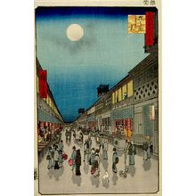 Utagawa Hiroshige: Night View of Saruwaka-machi (Saruwaka-machi yoru no kei), Number 90 from the series One Hundred Famous Views of Edo (Meisho Edo hyakkei), Edo period, dated 1856 (9th month) - Harvard Art Museum
