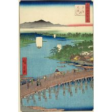 Utagawa Hiroshige: Senju Great Bridge (Senju no ôhashi), Number 103 from the series One Hundred Famous Views of Edo (Meisho Edo hyakkei), Edo period, dated 1856 (2nd month) - Harvard Art Museum