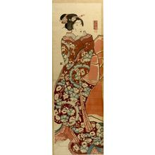 歌川芳員: WOMAN WRAPPED IN RED KIMONO - ハーバード大学