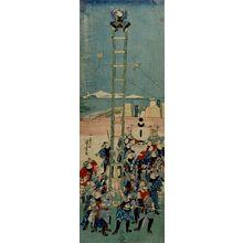 歌川国芳: Edo Fireman Demonstrating Ladder-climbing During Festival - ハーバード大学