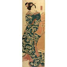 Utagawa Yoshikazu: WOMAN WRAPPED IN RED KIMONO - Harvard Art Museum