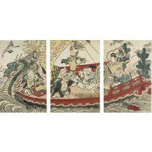 Utagawa Toyokuni I: Triptych: Seven Gods of Good Fortune (Shichifukujin) Playing Music and Dancing in the Ship of Treasures (Takarabune) - Harvard Art Museum