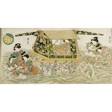 Ichiensai Kuninao: Triptych: Woman Carried Across Water in Palanquin (Harugeshiki musume dochu sanmai tsuzuki) - ハーバード大学