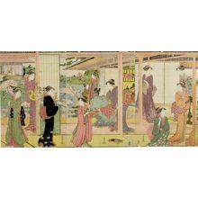 勝川春潮: Triptych: Courtesans - ハーバード大学