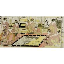 喜多川月麿: Triptych: Courtesans Writing on Gaku as Offerings to the Temple Asakusa (Asakusa Kannon hôshoku-gaku no zu) - ハーバード大学