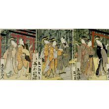 Utagawa Toyokuni I: Triptych: Men and Women Walking in Shrine Precinct - Harvard Art Museum