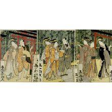 歌川豊国: Triptych: Men and Women Walking in Shrine Precinct - ハーバード大学