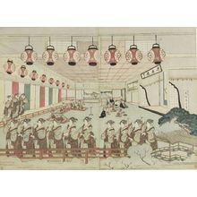 Ryuryukyo Shinsai: Diptych: Perspective View of Dancers in an Interior - Harvard Art Museum