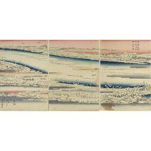 歌川広重: Triptych: Sumida River in the Snow, from the series Famous Places in the Eastern Capital - ハーバード大学
