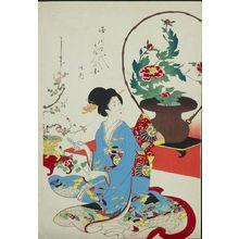 Toyohara Chikanobu: Arranging Flowers (Ikebana), from the series The Appearance of Upper-Class Women of the Edo Period (Tokugawa jidai kifujin no sugata), Meiji period, datable to September 1, 1900 - Harvard Art Museum
