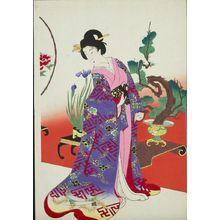 Toyohara Chikanobu: Arranging Flowers (Ikebana), from the series The Appearance of Upper-Class Women of the Edo Period (Tokugawa jidai kifujin no sugata), Meiji period, dated September 1, 1900 - Harvard Art Museum