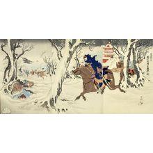 Unknown: Triptych: Ikaiei fukin Tôshû-fu kô[?] gekisen no zu, Meiji period, dated 1894 - Harvard Art Museum