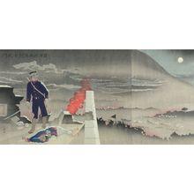 小林清親: Triptych: Despite the Heavy Artillery Like Rainfall, He Alone Opens the Hyonmu Gate (Danû o okashite tanshin Genbumon o hiraku), Meiji period, dated 1894 - ハーバード大学