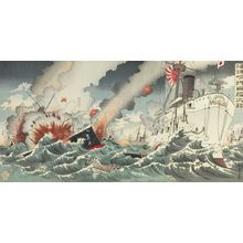 Nakamura Shûkô: Triptych: Off Kaiyôjima the Japanese Destroyer was Victorious (Kaiyôjima oki nikkan taishô), Meiji period, dated 1894 - Harvard Art Museum