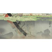 Kobayashi Kiyochika: Triptych: The Japanese Navy Sinks Chinese Destroyers in the Yellow Sea (Waga kantai Kôkai ni oite shikan o shizumeru no zu), Meiji period, dated 1894 - Harvard Art Museum