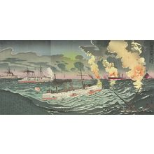 Kobayashi Kiyochika: Triptych: Great Victory for the Japanese Navy in the Yellow Sea, Image 4 (Kôkai ni okeru waga gun no Taishô: Dai yon zu), Meiji period, dated 1894 - Harvard Art Museum