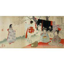 宮川春汀: Triptych: Village of Cherry Blossoms, from the series Esteemed Towns and Villages (Tôsei furaku tsû), Meiji period, 1897 - ハーバード大学