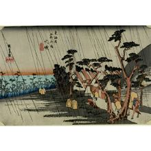 歌川広重: Station 9 -- Tora's Rain at ôiso (ôiso, Tora-ga-ame), from the series Fifty-three Stations of the Tôkaidô (Tôkaidô gojûsan-tsugi no uchi), Late Edo period, circa 1833-1834 - ハーバード大学