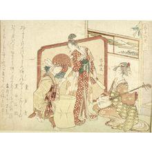 柳々居辰斎: Moon Goddess Chang'e, Rabbit Making New Year's Cake and a Geisha Playing Shamisen, second from the series Year of the Rabbit Handle Stories (Usagidoshi totte banashi ni), with poems by Tô Shôon, Kokuhaku Sekimen and Shinra Banshô, Edo period, possibly 1819 - ハーバード大学