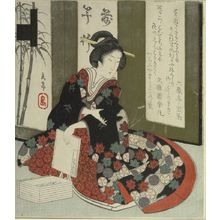 屋島岳亭: Woman Holding the Under the Cherry Blossoms (Hana no en) Volume of the Tale of Genji (Genji monogatari)/ Books (Bunsho), from the series Seven Designs for the Katsushika Circle (Katsushika shichiban tsuzuki), with poems by Rokuzôtei Hôba and Bungaen Tomom, Edo period, circa 1826 - ハーバード大学