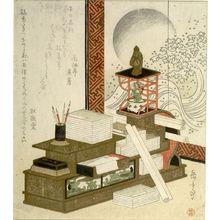 屋島岳亭: Writing Materials, Pot of Adonis (Fukujusô) and Screen, with poems by Kasaitei Mayoshi and Kyôkadô (Shikatsube no Magao), Edo period, circa 1820 - ハーバード大学