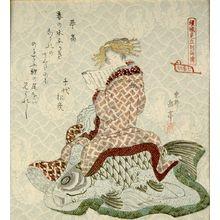 屋島岳亭: Courtesan as Kinkô (Qin Gao), from the series Courtesans Viewed as the Immortals of Ressenden, One of Seven (Keisei mitate Ressenden, shichiban no uchi), Edo period, circa 1824 - ハーバード大学