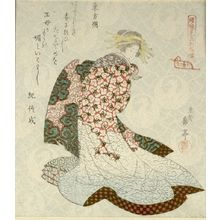 Yashima Gakutei: Courtesan as Tôbôsaku (Dongfang Shuo), from the series Courtesans Viewed as the Immortals of Ressenden, One of Seven (Keisei mitate Ressenden, shichiban no uchi), Edo period, circa 1824 - Harvard Art Museum