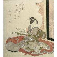 Totoya Hokkei: WOMAN SEATED ON RED CUSHION. - Harvard Art Museum