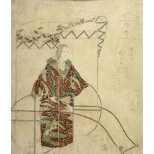 Totoya Hokkei: Woman in a Red Kimono Standing in Front of a Carriage - Harvard Art Museum