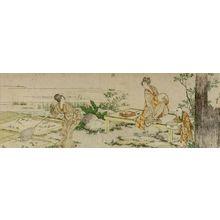 葛飾北斎: Two Women and Small Child Catching Goldfish, Edo period, - ハーバード大学
