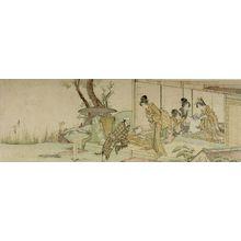 葛飾北斎: Four Women Buying Combs from a Vendor, Edo period, - ハーバード大学