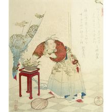 Yanagawa Shigenobu: Tobosaku Stealing a Peach of Immortality, from the series Five Pictures of Symbols of Longevity (Kotobuki goban no uchi) - Harvard Art Museum