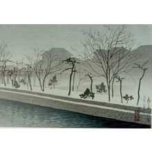 吉川観方: Morning Mist at Sanjô Bridge, Kyoto (Sanjô ôhashi no asagiri), Taishô period, dated 1924 - ハーバード大学
