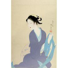 Kaburagi Kiyokata: Seated Woman Holding Sash, Taishô period, dated 1923 - Harvard Art Museum