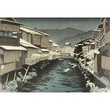 吉川観方: Fair Weather After Snow at Yamato Bridge, Kyoto (Yamato bashi no yukibare), Taishô period, dated 1924 - ハーバード大学