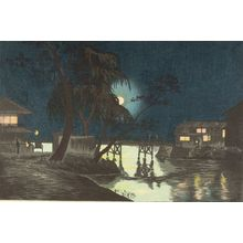 小林清親: Night at Yanagibashi, Meiji period, dated 1877 - ハーバード大学