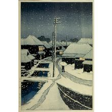 Kawase Hasui: Terashima in Snow (Yuki ni kureru Terashima), from the series Twelve Views of Tokyo (Tokyo jûnidai), Taishô period, dated 1920 - Harvard Art Museum
