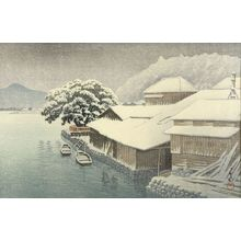 Kawase Hasui: Evening Snow at Ishinomaki (Ishinomaki bosetsu), from the series Collection of Scenic Views of Japan, Eastern Provinces (Nihon fûkeishû higashi Nihon hen), Shôwa period, dated 1935 - Harvard Art Museum