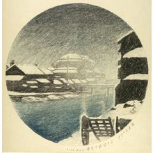 Kawase Hasui: Evening Snow at Sanjûgen Canal (Sanjûgenbori no bosetsu), from the unfinished series Twelve Months of Tokyo (Tôkyô jûnikagetsu), Taishô period, dated 1920 - Harvard Art Museum