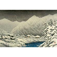 Kawase Hasui: Snowfall at Nakayama, Hida (Hida Nakayama shichiri), from the series Souvenirs of Travels III (Tabi miyage daisanshû), Taishô period, dated 1924 - Harvard Art Museum